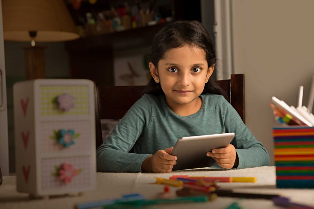 School Student Studying On iPad